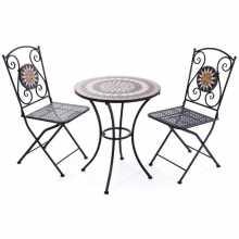 Mosaik-Set - Tisch und 2 Stühle aus lackiertem Metall mit einem Mosaikmuster aus einem Garten im Freien