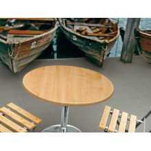 Saturno RW - Tisch mit Bein aus verchromtem Stahl und Platte aus Werzalit für die Gartenbar im Freien