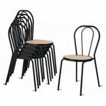 Vienna I - Thonet Stapelstuhl aus Metall, gefälschte Stroh, Plastik, Holz oder aus Ökoleder für Bar, Restaurant, Hotel